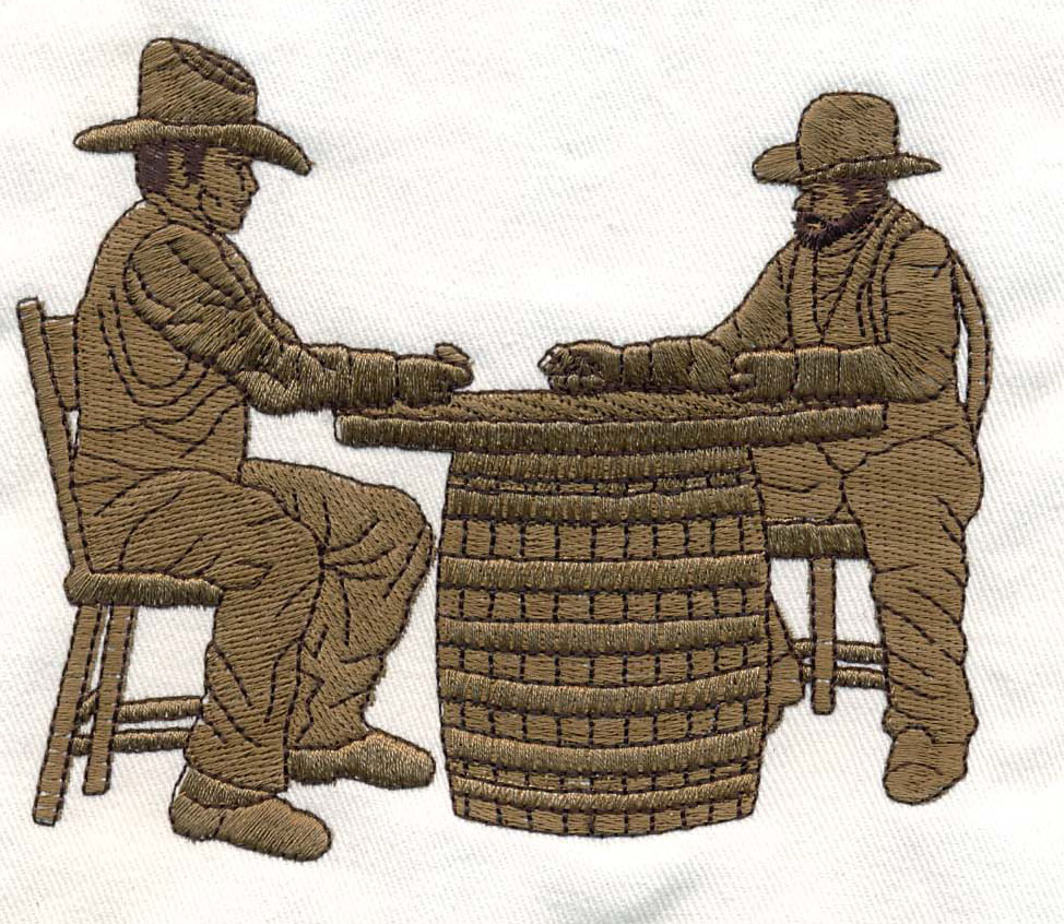 Precision Embroidery Digitizing with two men sewn on Brother using Wilcom EMB