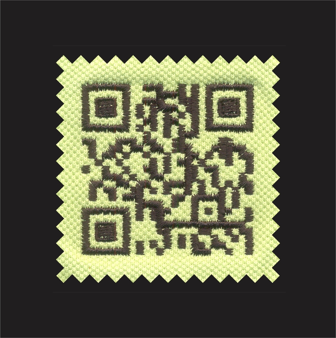 Precise Quality Embroidered QR Code Sewn out.Signup